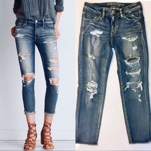 AEO Distressed Cropped Jeggings - Super Stretch